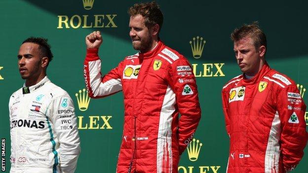 Lewis Hamilton (left) finished second behind the Ferrari duo of Sebastian Vettel (centre), who won, and Kimi Raikkonen (right)