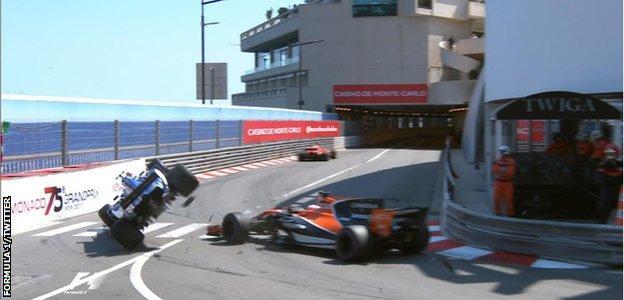 Button and Wehrlein collide