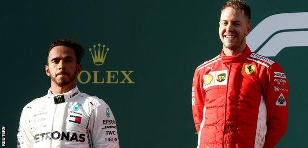 Ferrari F1 driver Sebastian Vettel and Mercedes F1 driver Lewis Hamilton