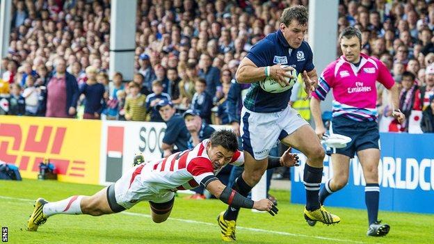 John Hardie playing for Scotland against Japan