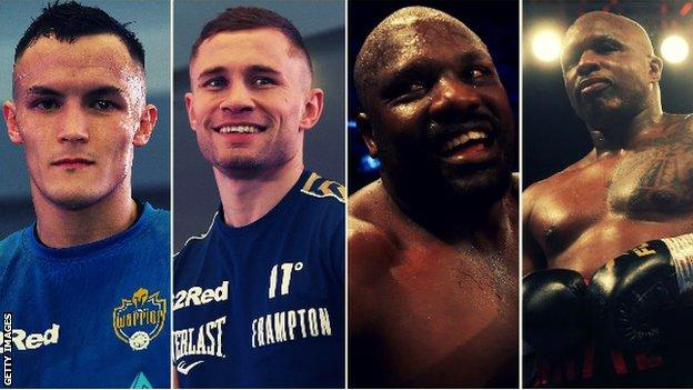 Warrington fights Frampton at Manchester Arena, while Chisora and Whyte meet at London's O2 Arena