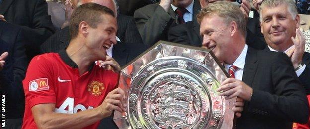 David Moyes won the Community Shield in his first game as Manchester United manager - Vidic was captain