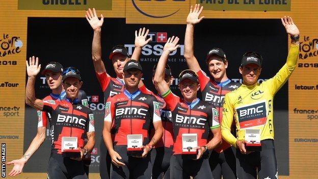 BMC celebrate winning stage three of the Tour de France