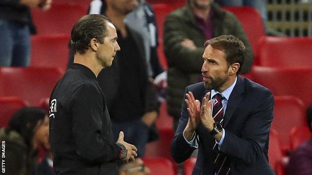 Gareth Southgate protests to the fourth official over the disallowed goal