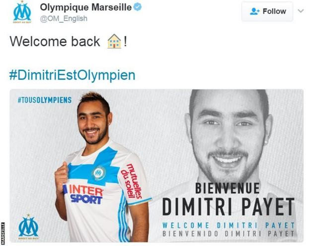 Marseille announce Dimitri Payet signing on Twitter