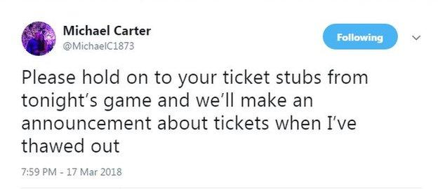 Michael Carter's tweet about tickets