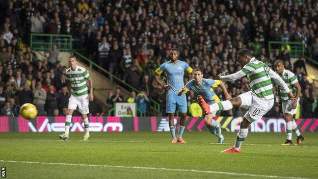 Moussa Dembele scores a penalty for Celtic against Astana