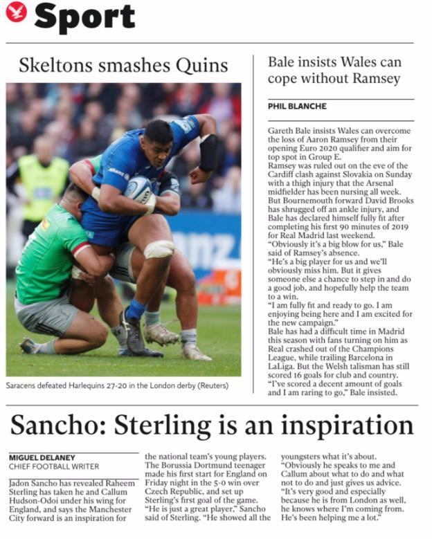 The Independent point to Jadon Sancho praising Raheem Sterling