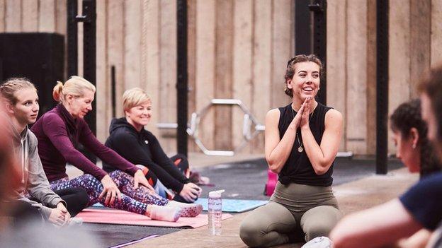 India Hewitt teaching yoga