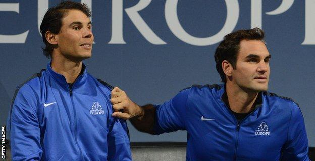 Laver Cup 2017 Roger Federer Rafael Nadal Win First Doubles Match Bbc Sport