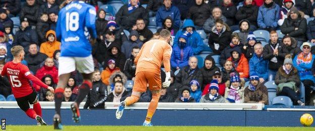 Kilmarnock's Conor McAleny scores against Rangers