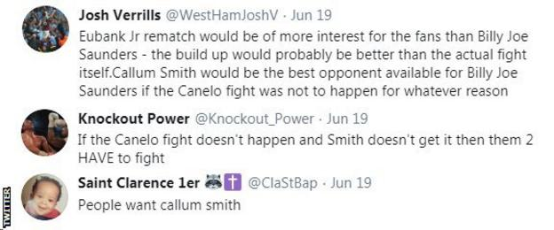 "Boxing fans on Twitter want Billy Joe Saunders to fight Callum Smith next. One fan says the ""people want Callum Smith""."