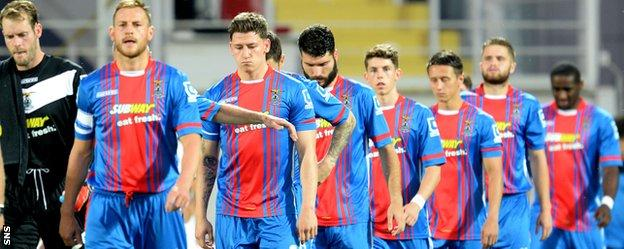 Caley Thistle players take to the pitch at Stadionul Marin Anastasovici