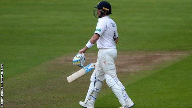 All three of Warwickshire captain Ian Bell's Championship half-centuries this season have come in the second innings - but he is still without a first-class century since his last visit to Southampton 14 months ago
