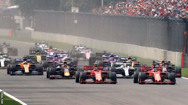 Turn One on the opening lap of the Mexican Grand Prix