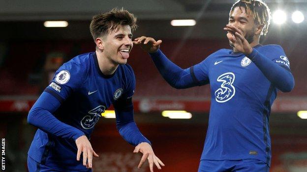 Mason Mount celebrates scoring against Liverpool