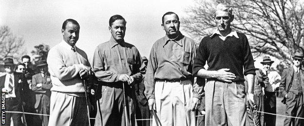 Gene Sarazen, Bobby Jones, Walter Hagen and Tommy Armour walk together during the 1941 Masters Tournament at Augusta National