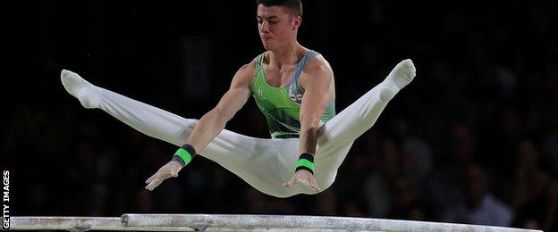 Northern Ireland gymnast Rhys McClenaghan in action in the all-round final on Saturday