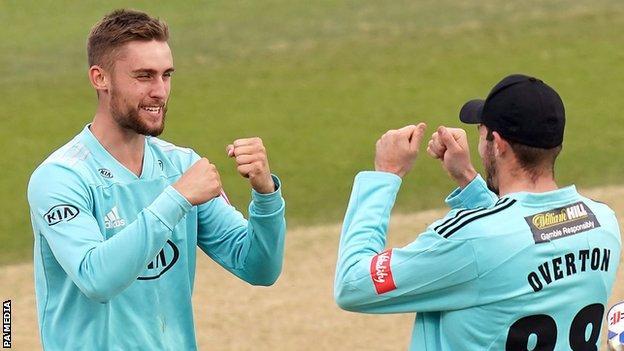 Will Jacks of Surrey celebrates a wicket
