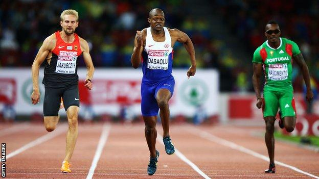 James Dasaolu winning gold in the 100m at the 2014 European Championships in Switzerland