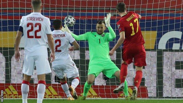 Hans Vanaken scores Belgium's second goal against Belarus