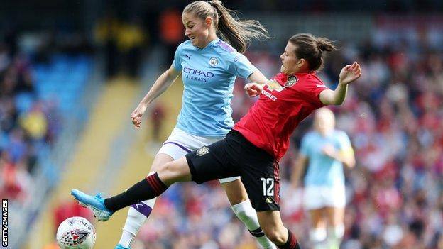 Janine Beckie and Hayley Ladd in the Manchester derby
