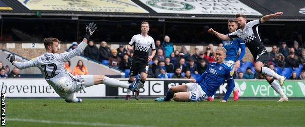 Matt Godden scores against Ipswich