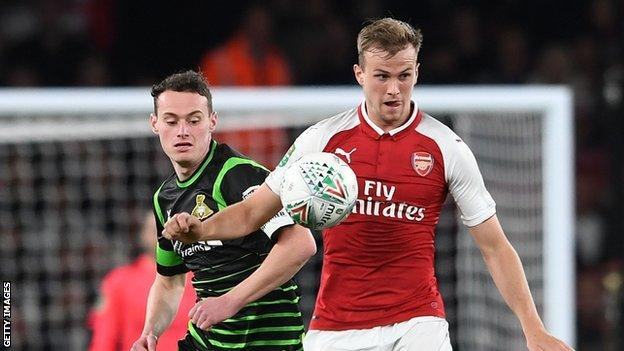 Liam Mandeville and Reiss Nelson in the Carabao Cup