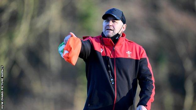 Under pressure Wales coach Wayne Pivac giving out instructions in training