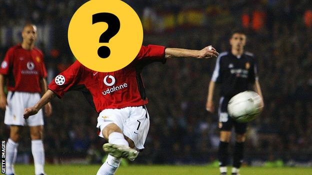 A picture of a Manchester United player with his face covered by a question mark