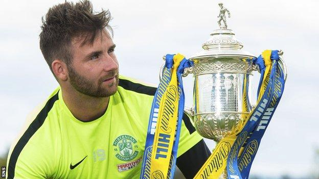 Hibs' James Keatings with the Scottish Cup
