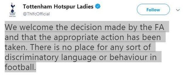 Tottenham Hotspur Ladies FC tweet