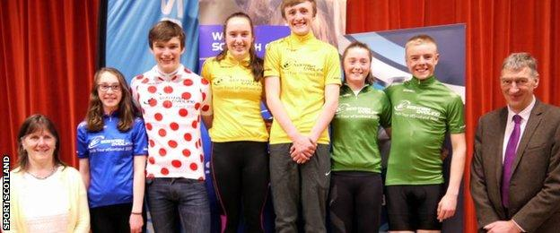 Riders compete for individual and team prizes including points race, king of the mountains and best Scottish rider