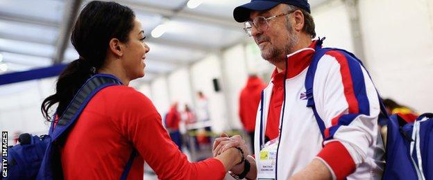 Katarina Johnson-Thompson (left) with her coach Mike Holmes
