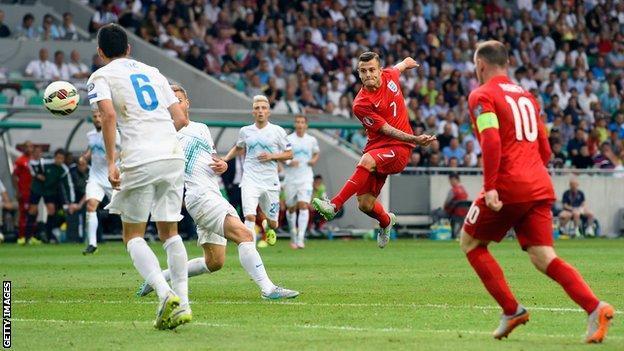 Jack Wilshere scores for England against Slovenia
