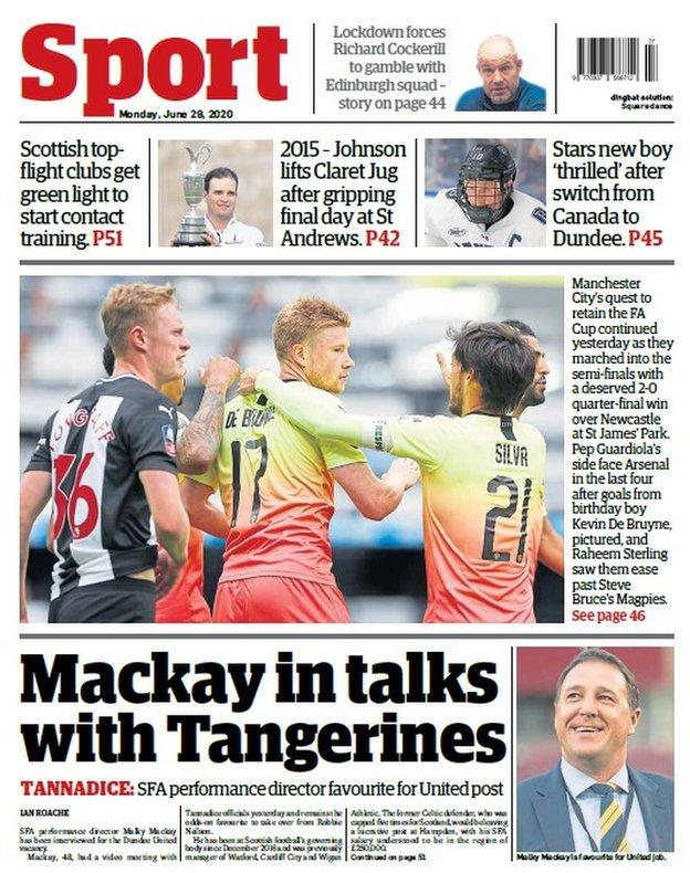 The Courier reports SFA performance director Malky Mackay is the prime candidate for the Dundee United job