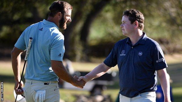 Robert MacIntyre (right) defeated American Ryder Cup player Dustin Johnson at the WGC Matchplay in March