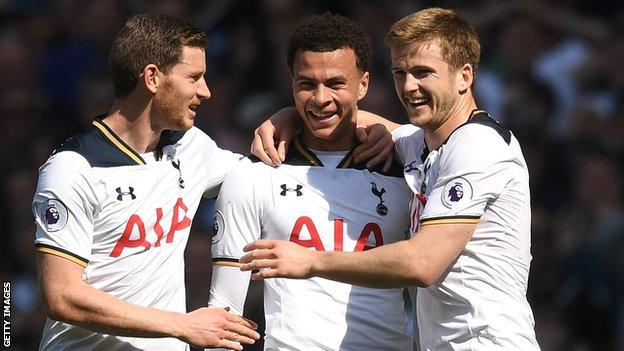 (Left to right) Jan Vertonghen, Dele Alli and Eric Dier