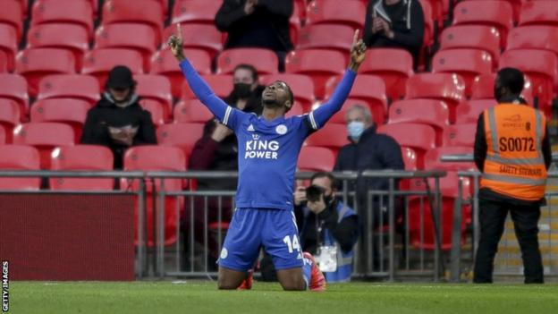 Nigeria and Leicester City's Kelechi Iheanacho celebrates a goal