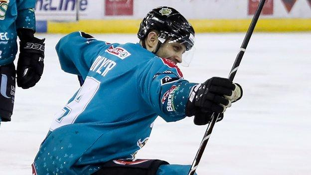 A familiar scene for Giants fans as Patrick Dwyers celebrates his second goal against Coventry