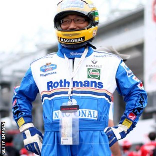 Japanese GP fan in Ayrton Senna suit