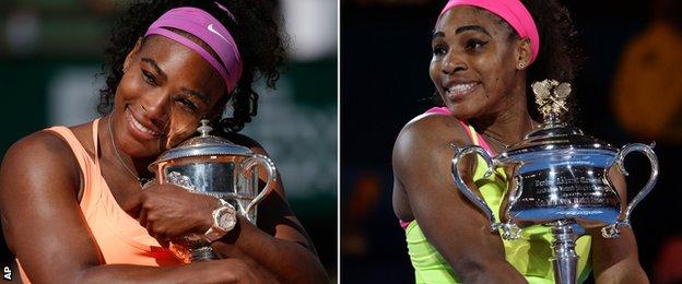 Serena Williams with the French and Australian Open trophies