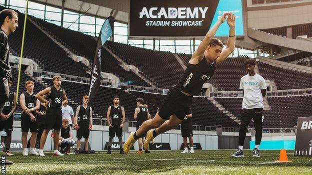 NFL UK Academy students train at Tottenham Hotspur's stadium