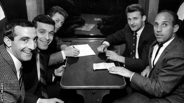 Hunt, top right, pictured with Liverpool team-mates on the train to London before the 1965 FA Cup final, in which he scored to help the Reds beat Leeds and lift the trophy for the first time