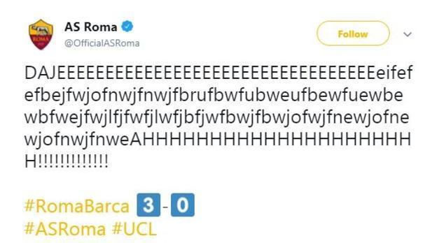 Roma's tweet after Manolas' tie-clinching goal