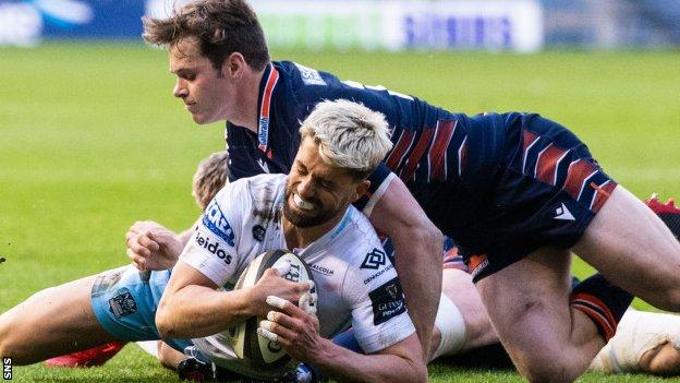 Adam Hastings scored a try for Glasgow