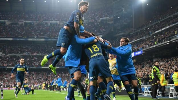Boca Juniors celebrate scoring