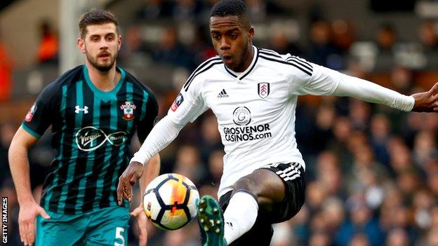 Fulham's Ryan Sessegnon (right) shields the ball from Southampton defender Jack Stephens