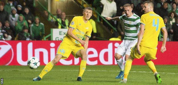 Leigh Griffiths knocks in Celtic's fifth goal, deflected into the net by Igor Shitov