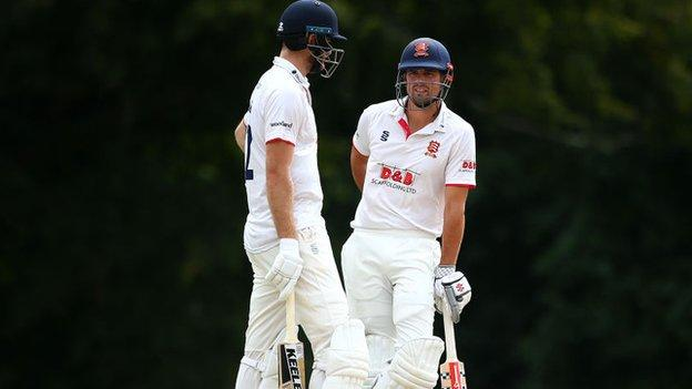 sports Essex openers Paul Walter and Sir Alastair Cook were parted immediately after the restart at Arundel